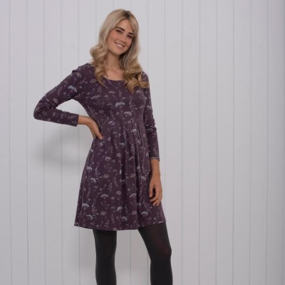 ae1269585036 Brakeburn Autumn Leaves Dress - Purple