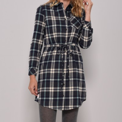 ca26526813e7 Brakeburn Flannel Shirt Dress - Navy