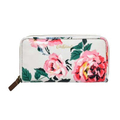 0a6705a9b204 Cath Kidston Eiderdown Rose Continental Zip Wallet - Stone