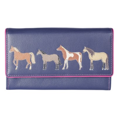 f5daf1d6320 Mala Leather Best Friends Horse Flap Over Purse - Navy