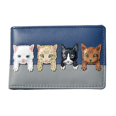 c0c7e6e4674 Mala Leather BF Cats on Wall ID/Card Holder - Navy