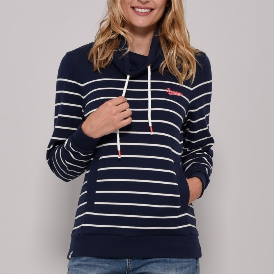 Brakeburn Cowl Neck Sweat - Navy