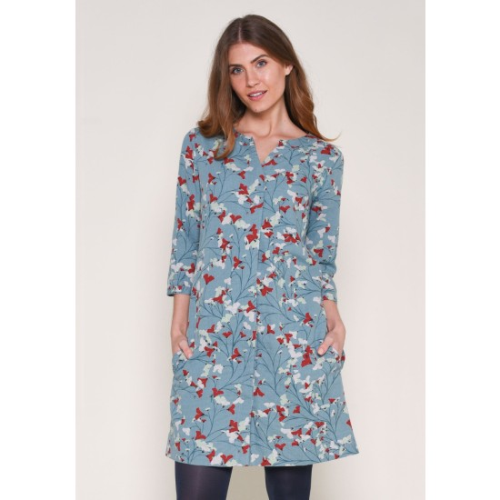Brakeburn Fanned Flower Shift Dress - Teal