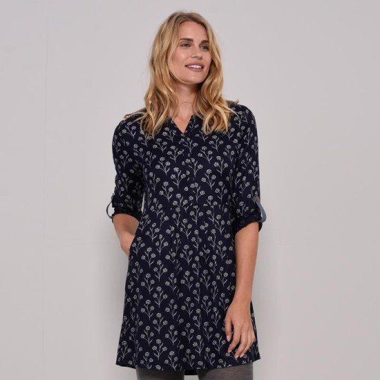 Brakeburn Sprig Blouse Dress - Navy