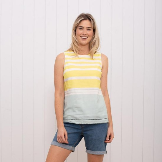 Brakeburn Stripe Sleeveless Blouse - Yellow