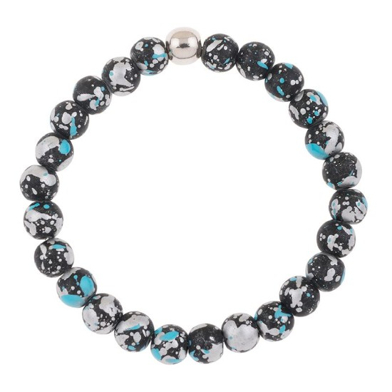 Carrie Elspeth Black/Blue Shimmer Marbled Bracelet - B1562