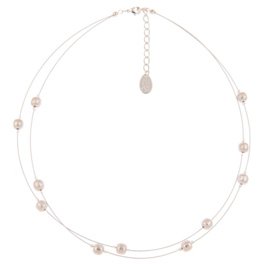 Carrie Elspeth Brushed Silver Spheres Necklace - N1522