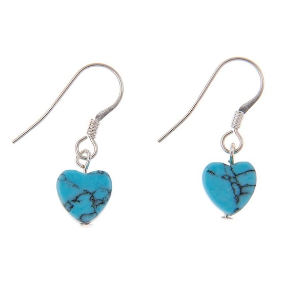 Carrie Elspeth EE059 Turquoise Howlite Heart Earrings