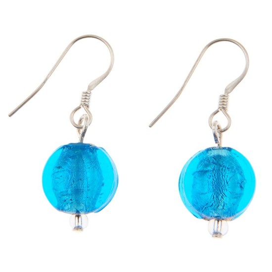 Carrie Elspeth EE061 Aqua Silver Lined Coin Earrings