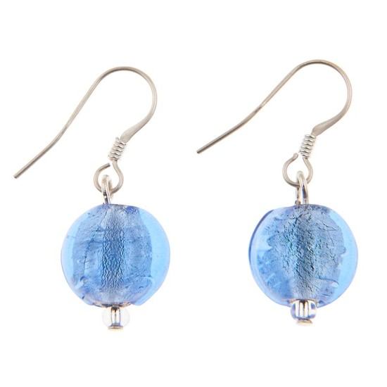 Carrie Elspeth EE062 Blue Silver Lined Coin Earrings
