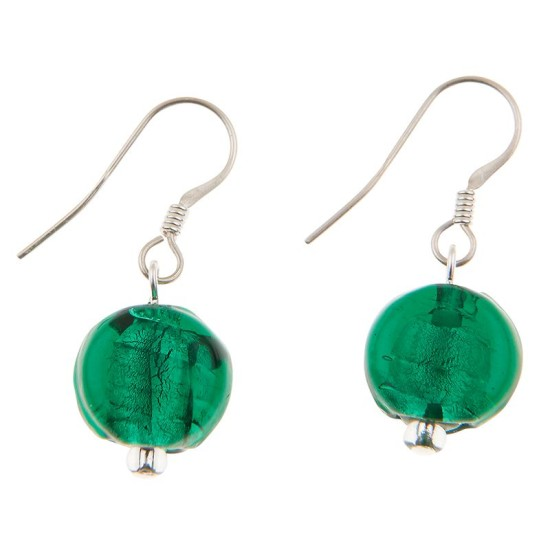 Carrie Elspeth EE064 Green Silver Lined Coin Earrings