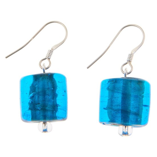 Carrie Elspeth EE068 Blue Copper Lined Square Earrings