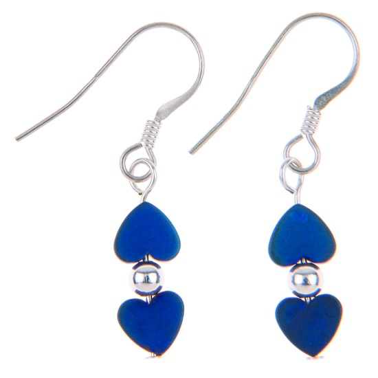 Carrie Elspeth Frosted Kissing Hearts Earrings - Denim - EH1313