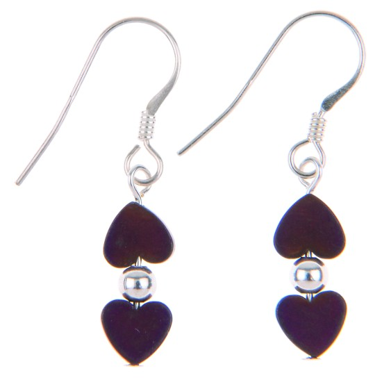 Carrie Elspeth Frosted Kissing Hearts Earrings - Mulberry - EH1312