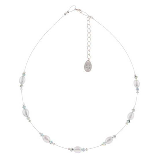 Carrie Elspeth Grey Pearl & Crystal Bridal Necklace - N1610