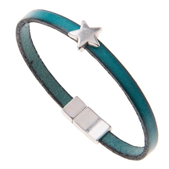 Carrie Elspeth Leather Star Charm Bracelet - Turquoise - BL002