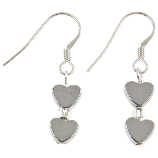 Carrie Elspeth Mini Haematite Heart Earrings - Silver - EH1102