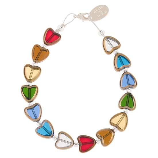 Carrie Elspeth Multi Gold Edged Hearts Bracelet - B1683