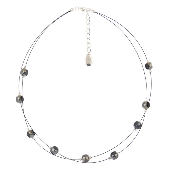 Carrie Elspeth Notches Necklace - Pewter - N1474