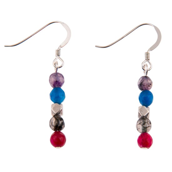 Carrie Elspeth Rainbow Medley Agate Earrings - EH1512-1513