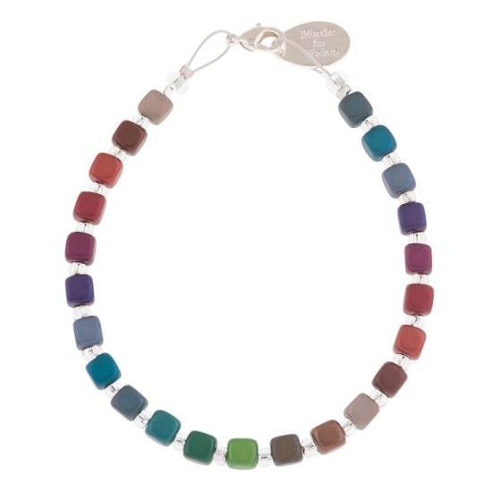 Carrie Elspeth Rainbow Satin Cubes Full Bracelet- B1614-1615