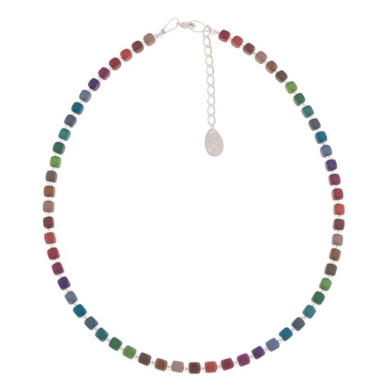 Carrie Elspeth Rainbow Satin Cubes Full Necklace - N1614