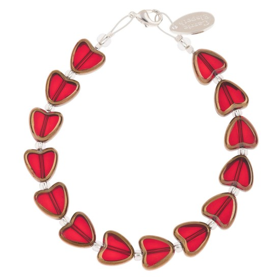 Carrie Elspeth Red Gold Edged Hearts Bracelet - B1682