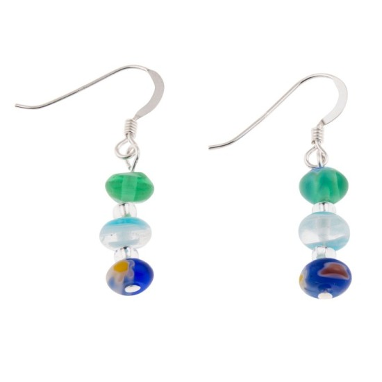 Carrie Elspeth Spring Blues Millefiori Earrings - EH1616b