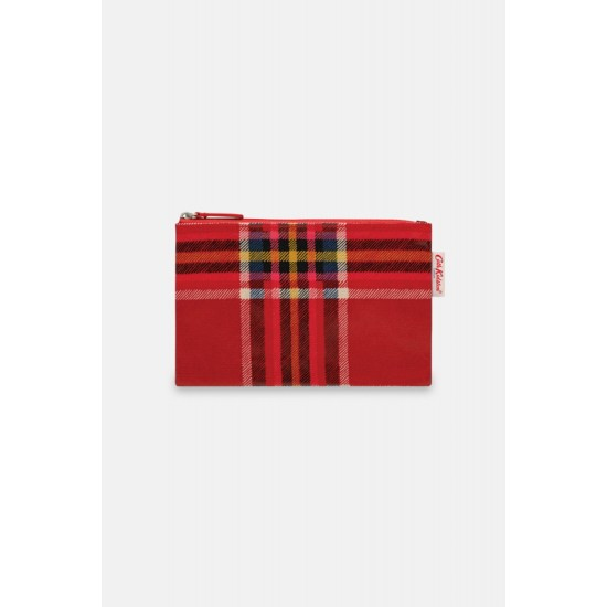 Cath Kidston Clarendon Tartan Check Zip Purse - Ruby