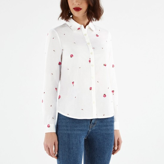 Cath Kidston Falling Buds Embroidered Shirt - White