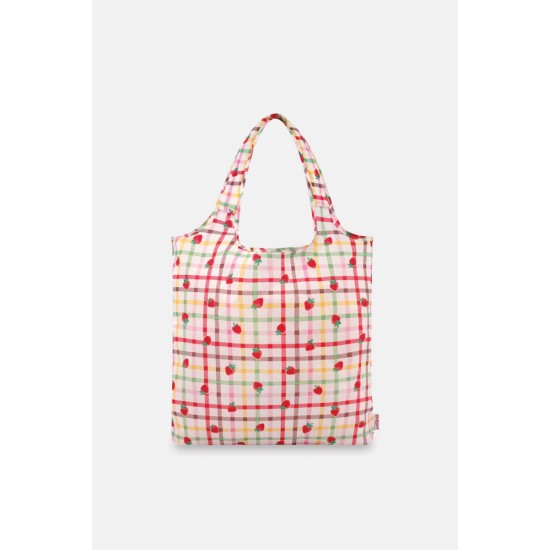 Cath Kidston Gingham Check Foldaway Shopper Bag - Warm Cream