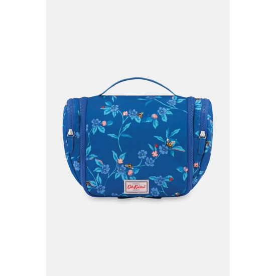 Cath Kidston Greenwich Flowers Recycled Travel Wash Bag - Midnight Blue