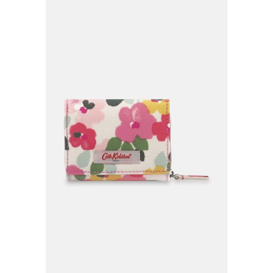 Cath Kidston Painted Pansies Small Foldover Wallet - Cream