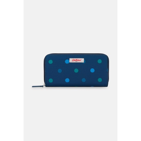 Cath Kidston Power Spot Recycled Continental Zip Wallet - Navy