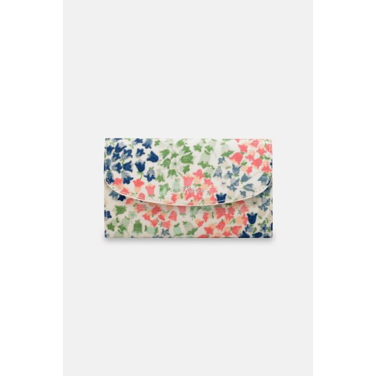 Cath Kidston Tiny Painted Bluebell Foldover Wallet - Warm Cream