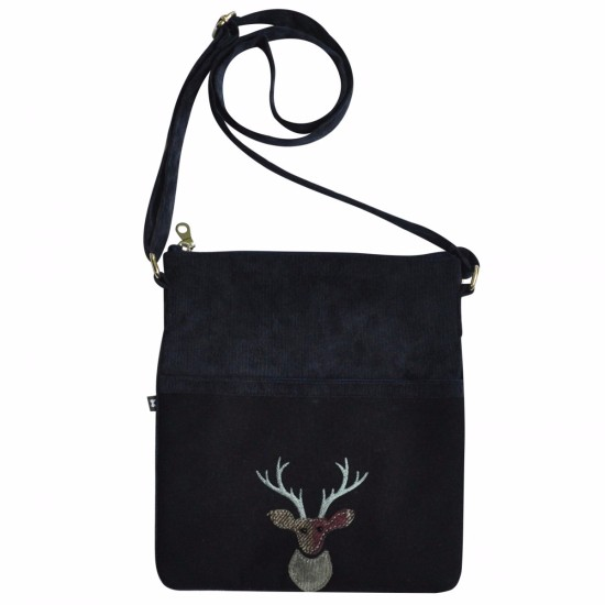 Earth Squared Applique Wool Animal Block Bag - Navy Deer
