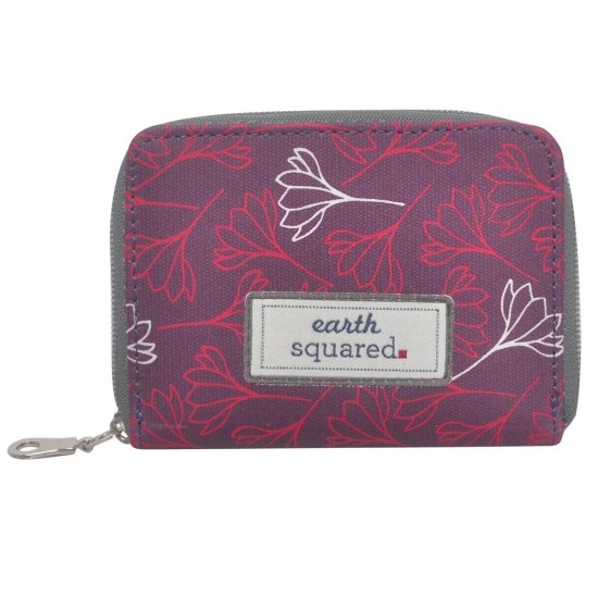 Earth Squared Aubergine Flower Oil Cloth Wallet