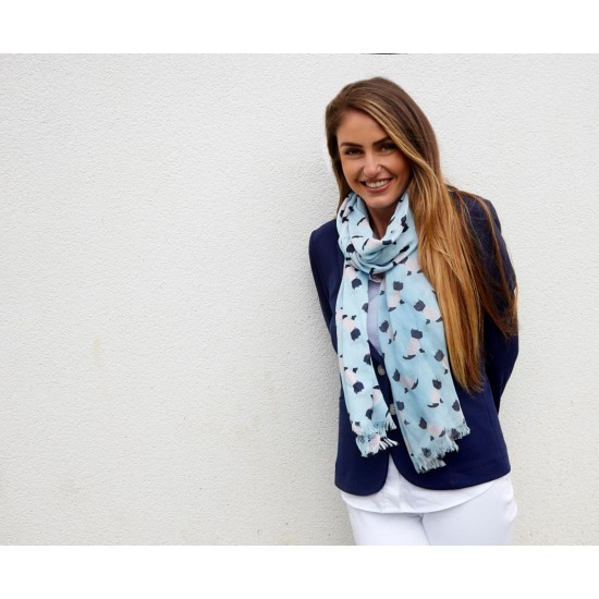 Earth Squared Blue Scottie Dog Scarf
