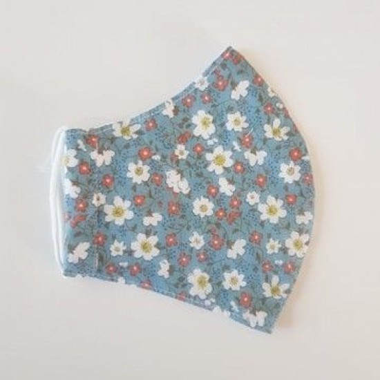Earth Squared Face Covering - Blue Cotton Daisy