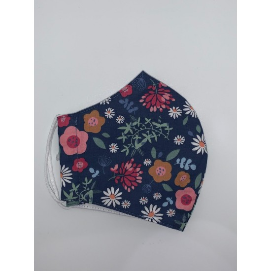 Earth Squared Face Covering - Navy Flower