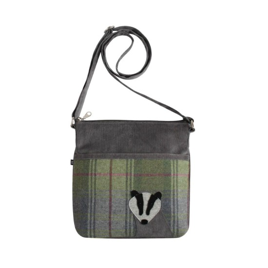 Earth Squared Grey Badger Tweed Applique Amelia Bag