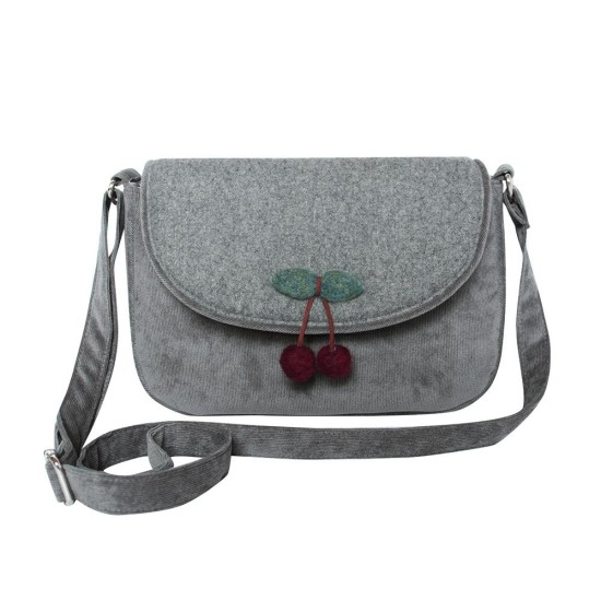 Earth Squared Grey Cherry Wool Messenger Bag