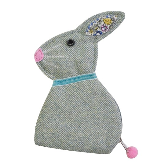 Earth Squared Herringbone Bunting Rabbit Purse - Aqua