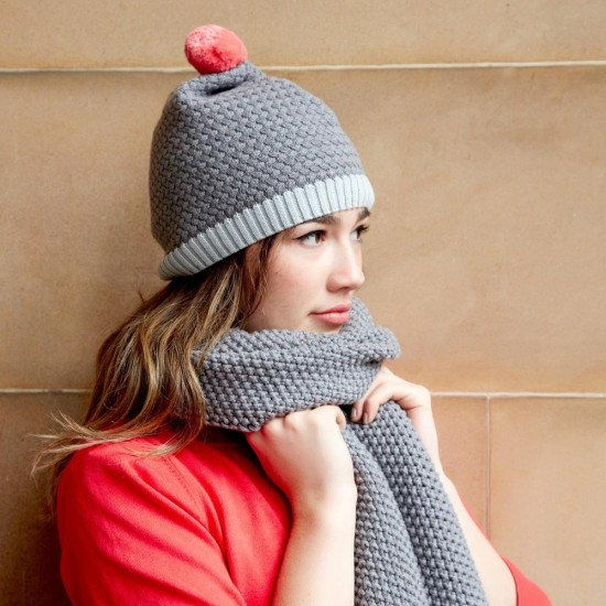 Earth Squared Knitted Bobble Hat - Slate Grey