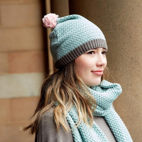 Earth Squared Knitted Bobble Hat - Opal Green