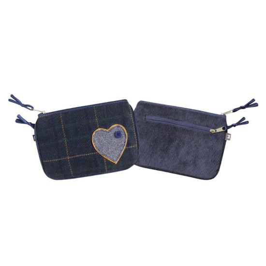 Earth Squared Navy Heart Tweed Applique Juliet Purse