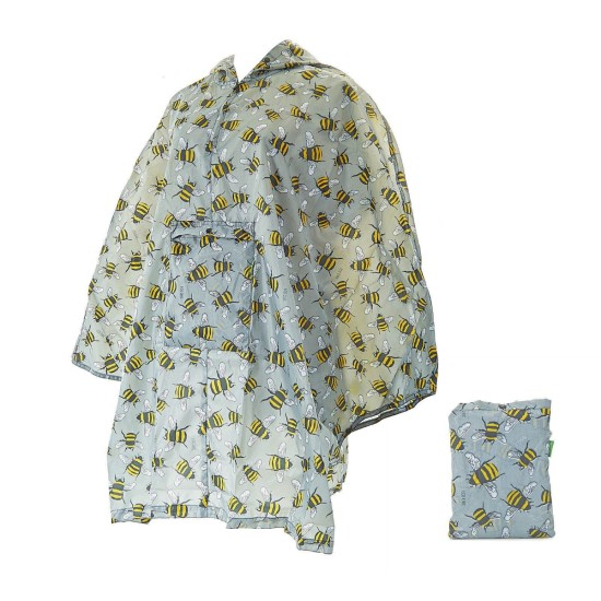 Eco Chic Bee Foldable Poncho - Grey