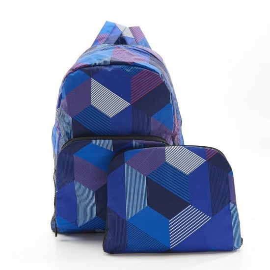 Eco Chic Blue Triangle Foldable Backpack