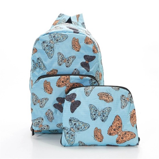 Eco Chic Butterflies Foldable Backpack - Blue
