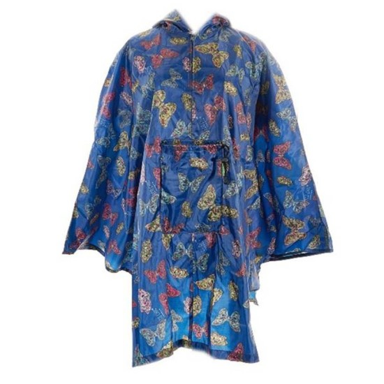 Eco Chic Butterflies Foldable Poncho - Navy